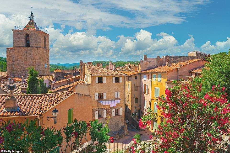 The French government has said little about when it hopes to reopen to tourists. Pictured is the pretty town of Barjols in Provence