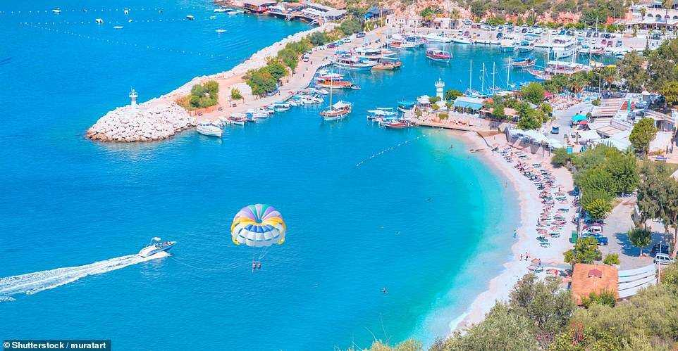 Turkey's stunning Kalkan Beach. The country's culture and tourism minister predicts that the number of new daily cases of Covid in Turkey will drop below 1,000 by April when he believes tourism can begin again